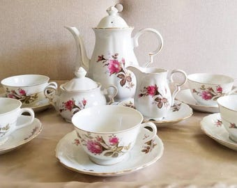 Antique Moss Rose Tea Set, Tea Pot, Milk Jug, Sugar Bowl, Five Cups, and Six Saucers