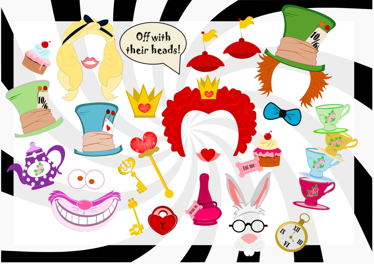 Famoso Alice in Wonderland Birthday Party Photo Booth Props Alice US88