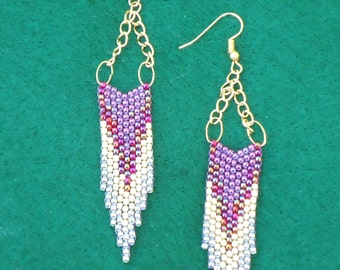 Chevron earrings, hand made jewelry, seed bead earrings,  Native American inspired, boho, southwestern