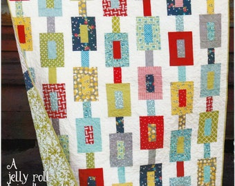 Off Track Quilt Pattern - Cluck Cluck Sew #123 - Jelly Roll Friendly Quilt Pattern - Modern Quilt Pattern