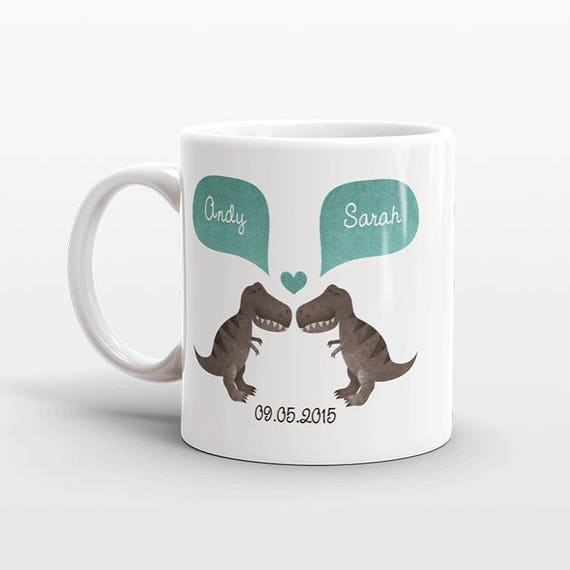 T-REX Dinosaur Mug Personalized Valentines Day Gift for Him for Her Couple Mug Unique Engagement Gift Anniversary Gift for Men Coffee Cup