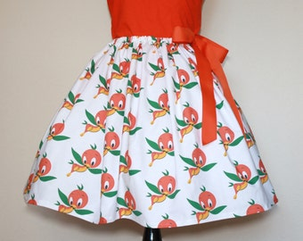Orange Bird Skirt  for young gals, size 2T to 10 girls