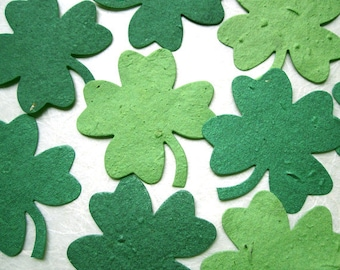 50 Plantable Seed Paper Clovers - Plantable Paper Irish Wedding Favors - Lucky Clovers - Flower Seed Paper Clovers - Irish Blessing Card