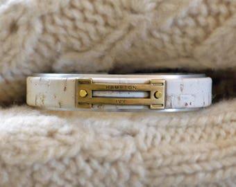 Preppy Equestrian Leather Metal Cuff Bracelet - White Cork