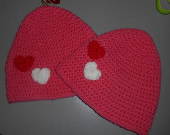 Pink Bonnet with Hearts