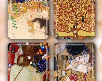 "LIQUIDATION SALE! Gustav Klimt  Set of 4 Glass Tile Magnets 1"" square"