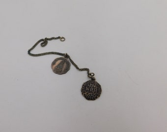 Vintage Sterling Silver Charms That Read Distinguished Student 1949 and 1950 with Chain