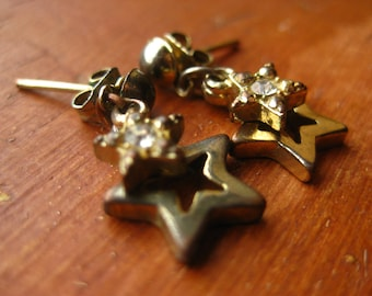 Star Stud Earrings Rhinestone Vintage Celestial