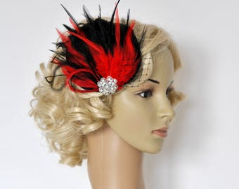 Red Feather Fascinator Hair Clip Downton Abbey 1920's flapper headpiece black red Great Gatsby, Feather bridal fasciantor feather hair piece