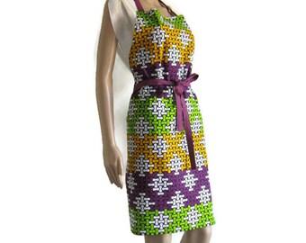 Tablier en wax africain violet vert et jaune, tablier original, tablier cuisine, tablier bricolage, tablier mixte, idée cadeau cuisine