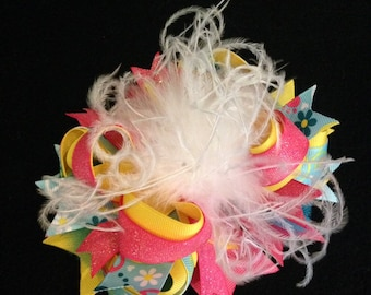 Fancy Sunny Aqua and Pink Over The Top Ostrich and Grosgrain Boutique Hair Bow Clip or Headband for Infant, Baby or Girls!