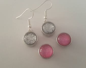 MINI snaps with silver and pink glitter earrings