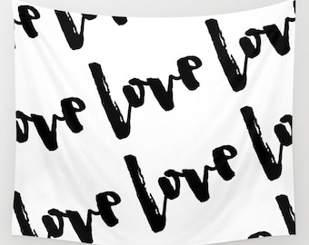 Love Wall Decor, Wedding Backdrop Curtain, Bridal Shower Decorations, Black and White Wedding Decor, Bridal Shower Banner, Photo Booth