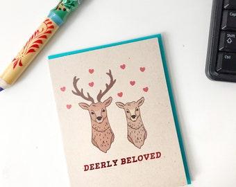 Deerly Beloved Deer Wedding Engagement Card - Deer Wedding Invite, Wildlife Card, Mule Deer Buck Card