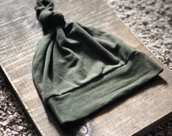 Forest Green Knot Hat/ Beanie