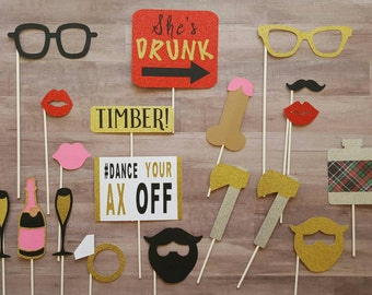 Lumberjack Inspired Bachelorette Party Photo Booth Props