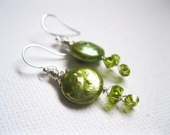 Green Freshwater Coin Pearl & Swarovski Crystal Sterling Silver Vine Earrings. UK Seller. Gift For Her