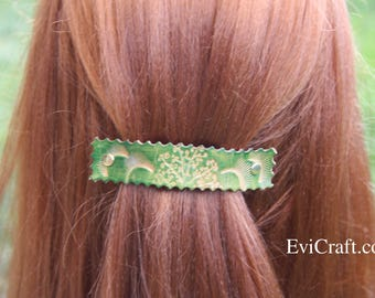 Green Leather hair barrette, tree and sun ornament, hair clip, hair Accessories, leather gift, vegetable tanned leather