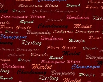Wine Country Wine Names premium cotton fabric from FabriQuilt