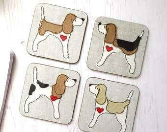 Beagle Coasters - Beagle Lover Gift - dog lover gift - Beagle Gifts - Beagle Drink Mats - Table Mats - Dog Coaster