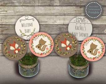 Woodland baby shower centerpieces, girl baby shower centerpieces, party circles, woodland baby shower decor, personalized centerpieces