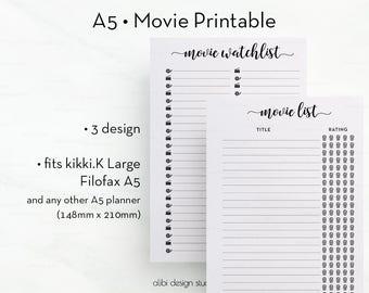 Movie Planner, A5 Planner Inserts, Movie Tracker, Printable Planner, A5 Inserts, Movie Watch list, To Do List, Cinema Planner, A5 Filofax