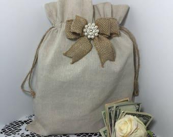2 Natural Linen Money Dance Bags, FREE SHIPPING, 2 Wedding Dance Bags, Wedding Accessories, Burlap Wedding, Flower Girl, Rustic Wedding