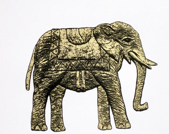 111 : Elephant in Gold - limited edition screenprint