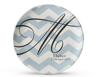 Personalized Plate, Chevron Plate, Personalized Monogram Plates, Melamine Dinner Plate,  Cake Dish