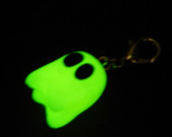 Glow-in-the-Dark Ghost Charm with Lobster Clip, Handmade of Polymer Clay.  Great for Halloween!