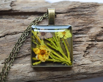 Beautiful Real Flower and Fern Resin Pendant Necklace- Handcrafted- Antique Bronze
