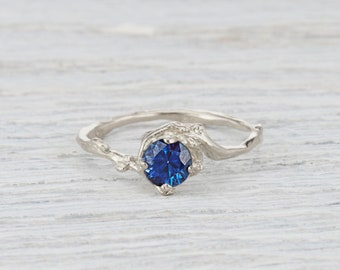 Boho Engagement Ring, Sapphire Engagement, Unique Solitaire Ring, 5mm Blue Sapphire, Naples Ring, Yellow Gold, Rose Gold, White Gold