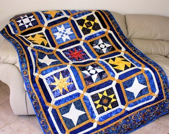 Twin Bed Quilt , Celestial Stars Bed Quilt, Blue Gold White Quilt, Heavenly Stars, Dorm Quilt, Boys Quilted Blanket, Quiltsy Handmade