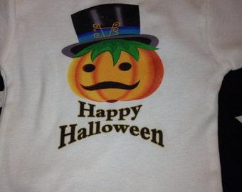 Halloween mustache pumpkin onesie
