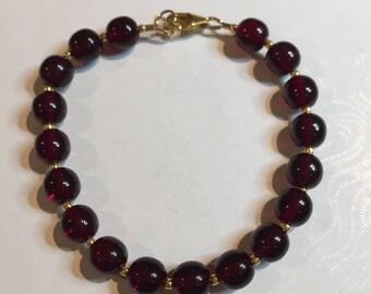 Murano Glass Bracelet, Garnet and Gold