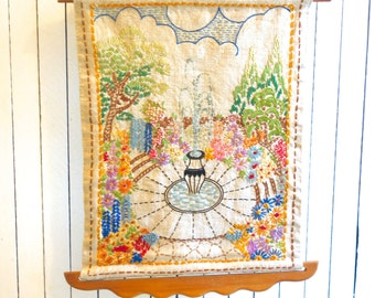 handmade vintage embroidery fountain and garden scene