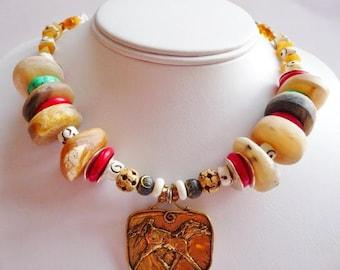 Wild horses Bohemian artisan necklace. Handcrafted ethnic jewelry. Artisan gypsy necklace. Bronze pendant. Horse lover. Black stallion.