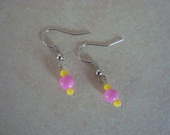 Pink and yellow earrings for girl