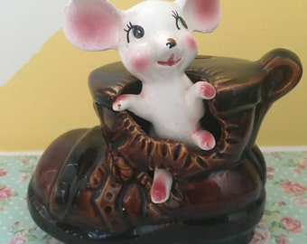 Vintage Kitschy Mouse In Boot Money Bank