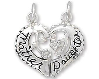 Sterling Silver Mother Daughter Heart Charm Pendant Break-away