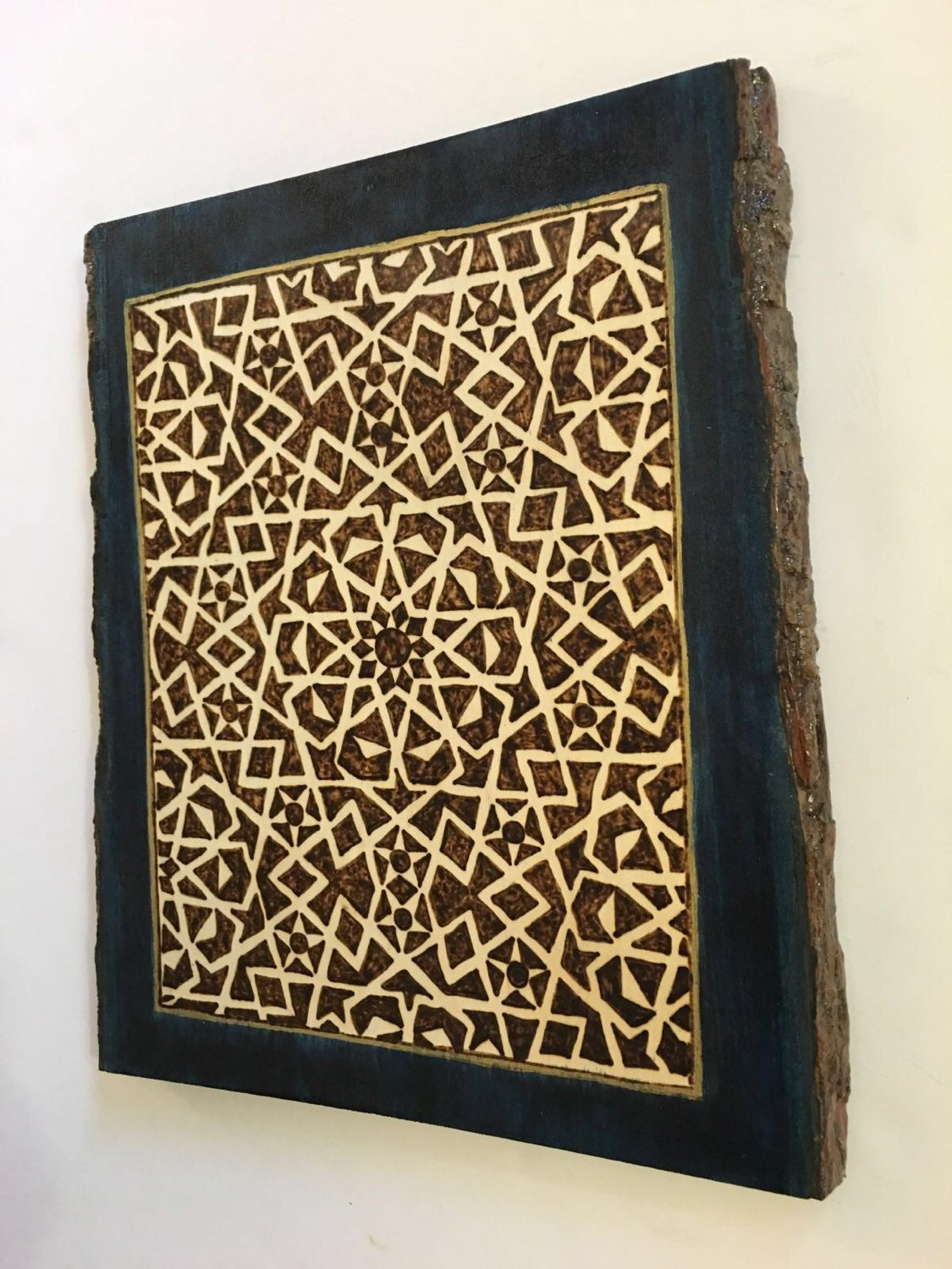 Wood Wall Art; Wood Wall Decor; Wall Hanging; Plaque; Islamic Wall Art;  Geometric Arabesque; Wood Decor; Mamluk Art; Medieval Islamic Art
