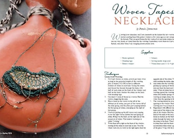 As seen in Belle Armoire Jewelry! Woven Reversible Necklace, Woven Fiber and Pottery, Collar, Copper and Dark Teal, Blue Green Khaki PF1