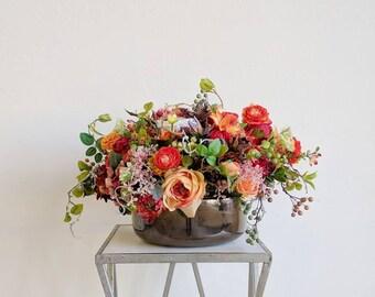 Flower Arrangement, Centerpiece, Wedding Centerpiece, Table Arrangement, Artificial Flowers, Silk Flower Arrangement, Silk Flowers