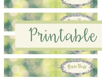 Printable Wraparound labels for Pixie Dust Glass Bottles  15mm x 75 mm