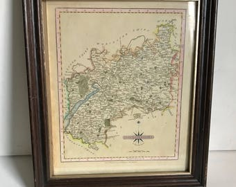 Framed Print of Gloucestershire/Glocestershire 1793 Cary
