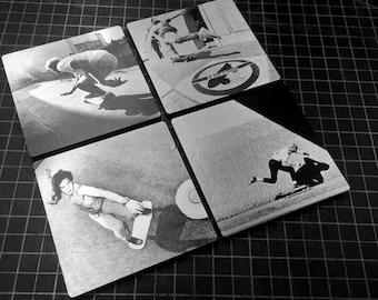 "Skateboarding Photo Aluminum Coasters 4 Pack - 4""X4"" - J Grant Brittain Classic Skate Photos"