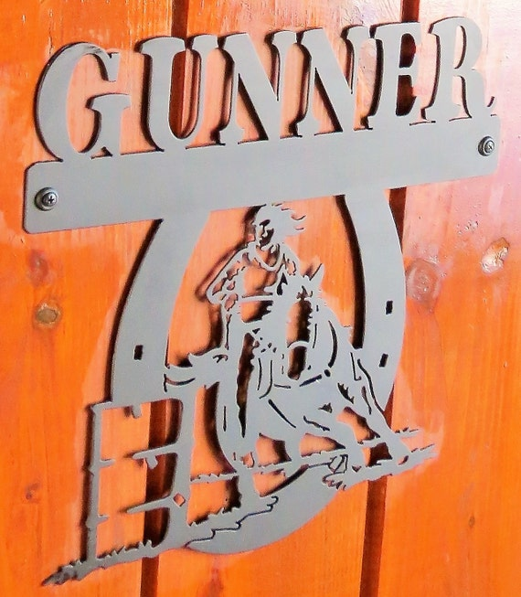 Horse Stall Nameplate,Barrel Racer Nameplate,Metal Sign,Metal Cut Sign,Horse Lover,Barn Sign,Metal Art,Plasma Cut Sign,Farm Sign