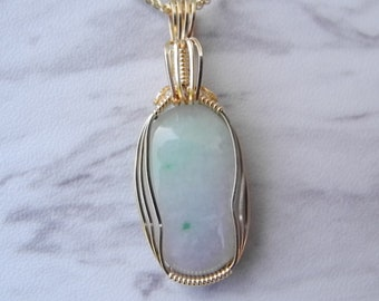 Natural Lavender Jade Pendant in 14 KT Gold Fill for Good Luck, Purity and Serenity
