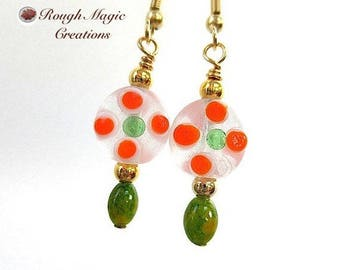Floral Lampwork Earrings, Green and Orange Dots, Frosted White Lampworked Flowers, Boho Gold Earrings, Spring Colors, Easter Jewelry E412B