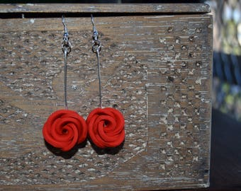 Polymer clay rose drop earrings//red//purple//silver//gifts for her//pretty earrings